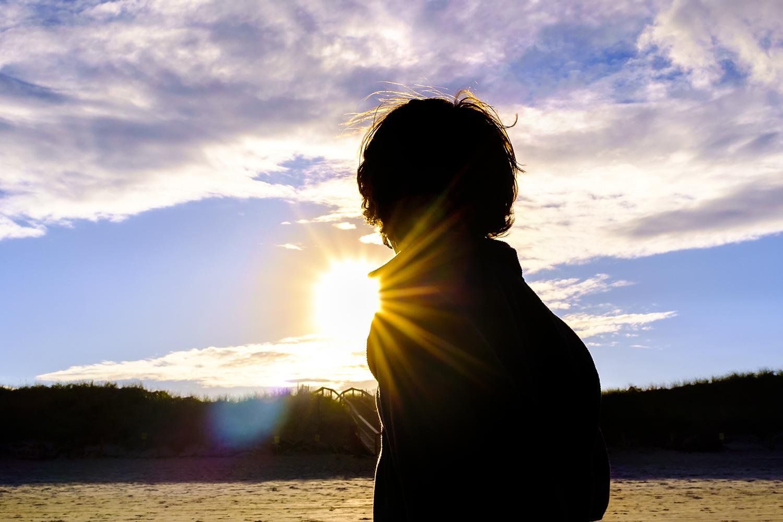 sunset, children, boy, beanch sand sky, clouds